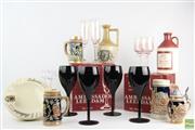 Sale 8546 - Lot 23 - Black Wine Glasses Together With Other Drinking Ware Incl German Beer Steins