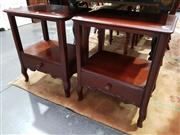 Sale 8740 - Lot 1011 - Pair of Tiered Timber Side Tables with Single Drawer