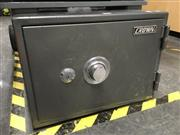 Sale 8759 - Lot 2113 - Metal Safe with Key & Pin, in office