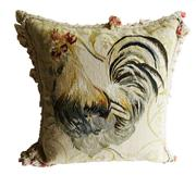 Sale 8888H - Lot 65 - A similar vintage French needle point tapestry cushion with opposite rooster design approx.. 50 x 50 cm