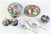 Sale 8989F - Lot 630 - Collection of items incl. cloisonne lidded container, enamelled frame and others