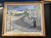 Sale 9045 - Lot 2006 - H Andersson Ocean Town Scene with Figures oil on canvas 72 x 85cm (frame), signed lower right