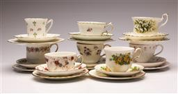 Sale 9119 - Lot 63 - A collection of 8 trios inc Royal Tucson, Minton and Royal Albert