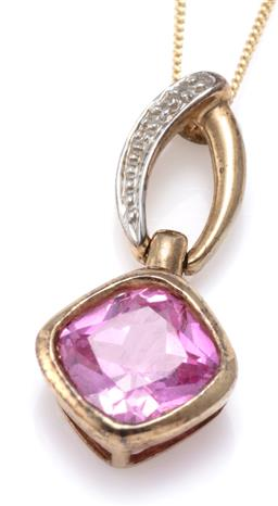 Sale 9156J - Lot 341 - A 9CT GOLD STONE SET PENDANT NECKLACE; rub set with cushion cut synthetic pink sapphire to bale set with a small single cut diamond,...