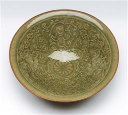 Sale 9164 - Lot 392 - Chinese Yaozhou Three Boys Bowl, interior decorated with boys among floral scrolls, 18.5 cm Dia, 6 cm H