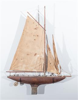Sale 9160H - Lot 44 - A vintage handmade sailing boat with metal keel, Height 90cm x Width 67cm