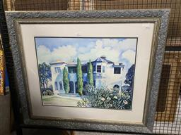 Sale 9159 - Lot 2057 - Sybil Barber Country Home watercolour, frame: 77 x 90 cm, signed lower left -