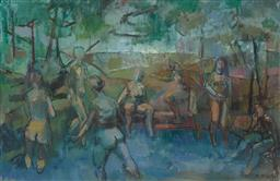 Sale 9244 - Lot 531 - MARGARET MCLELLAN (1932 - ) The Bathers, 1962 oil on canvas 47 x 73 cm (frame: 75 x 101 x 9 cm) signed and dated lower right
