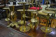 Sale 8105 - Lot 1050 - Ecclesiastical Suite Of Brass Wares Including Three Vases Five Stands