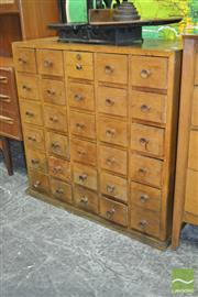 Sale 8260 - Lot 1080 - Vintage Timber Library Card Filer, with thirty drawers