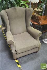 Sale 8272 - Lot 1026 - Pair of Green Upholstered Wingback Chairs