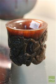 Sale 8285 - Lot 80 - Horn Libation Cup in Koi Motif