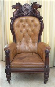 Sale 8346A - Lot 37 - Of horse racing interest, a large and impressive William IV Celtic mahogany leather upholstered button backed armchair, H 158, W 89,...