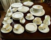 Sale 8418A - Lot 42 - A Royal Doulton dinner set for six in the Argenta pattern including two lidded tureens, gravy jug, sugar, bowl creamer etc