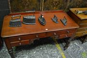 Sale 8460 - Lot 1073 - Small Victorian Mahogany Desk, with carved knee-hole, four drawers & turned legs