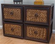 Sale 8562A - Lot 124 - A pair of oriental style four drawer glass top side tables in rattan effect, H 60 x W 87 x D 40cm, one missing one ring handle