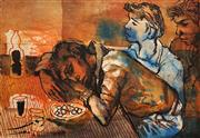 Sale 8666A - Lot 5075 - Donald Friend (1915 - 1989) - Native Boys at a Table 45.5 x 59cm (sheet size)