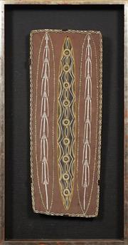Sale 8704 - Lot 562 - Charlie Rock Ngumbe (1911 - ?) - Untitled (Spears and Shields, 1970) 64 x 25cm