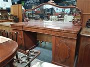 Sale 8868 - Lot 1003 - Mid 19th Century Mahogany Pedestal Sideboard, with low mirrored back, three drawers & two raised panel doors (2 x Keys in Office)