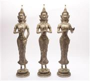 Sale 9032 - Lot 13 - Set of Three Nickle Plated Thai Brass Offering Statues (H:48cm)