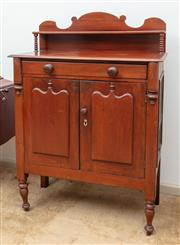 Sale 9058H - Lot 11 - A Victorian Cedar chiffonier meat safe with a single drawer and two sheild panelled doors, (doors are locked) Height 132cm x Width 9...