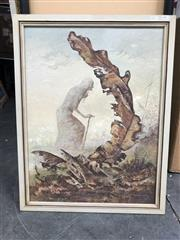 Sale 9045 - Lot 2075 - John L Curtis Taking the Burdens to the Cross 1966 oil on board, 70 x 54cm (frame) signed