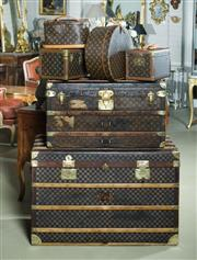Sale 9087H - Lot 76 - A large Antique French steamer probably by Moyant of Paris. Covered in damier checker board canvas with brass hardware  65 T x 100 W...