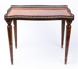 Sale 9135H - Lot 69 - A Louis The XVI style brass gallery side table. 41cm Height x  51cm Width x  36cm depth