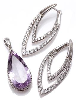 Sale 9164J - Lot 509 - STERLING SILVER STONE SET PENDANT AND EARRINGS; pendant set with a pear cut light purple amethyst to surround of zirconias, length 3...