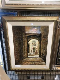 Sale 9176 - Lot 2153 - Giuseppe Risicato The Alley Way oil and mixed media on board 80 x 66cm, signed lower right