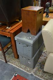 Sale 8147 - Lot 1029 - Canadian Rock Maple Stool & Two Lift Top Ottomans