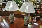 Sale 8251 - Lot 1018 - Pair of Ceramic Lamps with floral design (4326)
