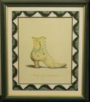 Sale 8575J - Lot 45 - A framed print of a French ladies boot with arch shaped bullion tassel border and painted frame, 62cm x 52cm including framing