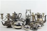 Sale 8470 - Lot 54 - Collection of Plated wares incl. Picket Jar, Candle Sticks, Tea pots, Comport etc