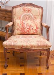 Sale 8575H - Lot 16 - A Louis style elbow chair upholstered with Arcadian landscape scene, with matching cushion