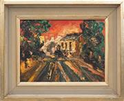 Sale 8771 - Lot 2039 - William Lee Sunset, Paddington oil on canvas board, 34 x 41cm, signed lower left -