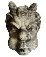 Sale 8888H - Lot 67 - A cast stone devil head fountain head fitted with copper spout approx.. 30 cm