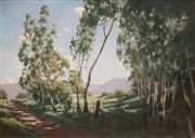 Sale 8907 - Lot 556 - Carl Hampel (1887 - 1942) - Gum Trees Along a Country Road 58.5 x 89 cm