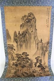 Sale 8909S - Lot 630 - Chinese scroll featuring mountain scene