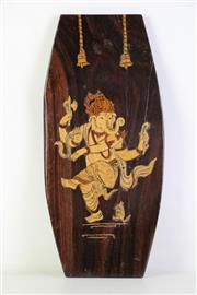 Sale 8944T - Lot 643 - Ganesh themed timber wall hanging (L40.5cm W19cm)