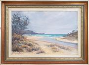 Sale 8973 - Lot 2019 - Peter Whelan Grey Day at Narooma, Lake Entrance oil on canvas on board, 58 x 78cm (frame), signed