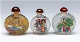 Sale 9098 - Lot 416 - Set of Three Inside Painted Glass Snuff Bottles (H:6cm)