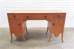 Sale 9112 - Lot 1099 - Vintage timber desk with three drawers & two doors below (h80 x w139 x d58cm)