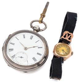 Sale 9132 - Lot 373 - VINATGE 9CT GOLD WRISTWATCH AND HALLMARKED SILVER POCKET WATCH; ladys watch with cushion form case, round telephone dial, case diam...