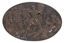Sale 9135H - Lot 162 - A French oval bronze wall plaque, Circa 1880. 92cm Width, 67cm Height