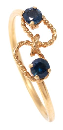 Sale 9156J - Lot 533 - AN 18CT GOLD SAPPHIRE RING; rope twist wire mount set with 2 small round cut blue sapphires, size L, wt. 1.30g.
