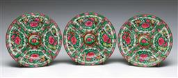 Sale 9164 - Lot 513 - Three Chinese Canton Side Plates, decorated with birds, flowers and gilt accents,  18 cm Dia each (3)