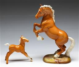 Sale 9164 - Lot 64 - A Beswick Figure of Rearing Horse (H:27cm) together with a Figure of a Foal (H:12.5cm W:13cm)