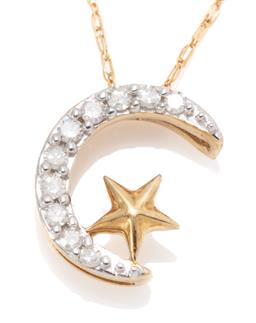 Sale 9194 - Lot 317 - A 10CT GOLD DIAMOND STARY NIGHT PENDANT NECKLACE; crescent moon set with 10 round single cut diamonds topped with a star, size 10mm...