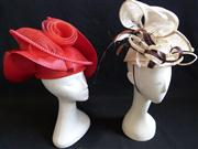Sale 7982B - Lot 23 - Two fascinators; Couture Inc (red), Gregory Ladner (cream)